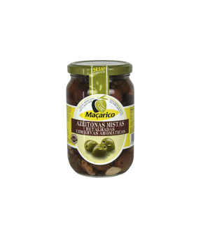 Split Tree-Ripened Olives with Garlic and Aromatic Herbs 210 g