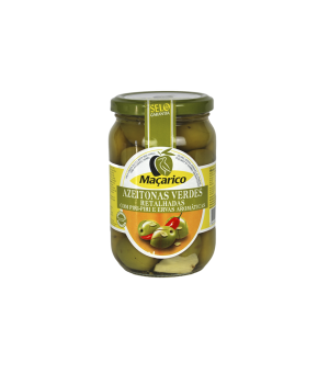 Split Green Olives with Aromatic Herbs and Hot Peppers 210 g